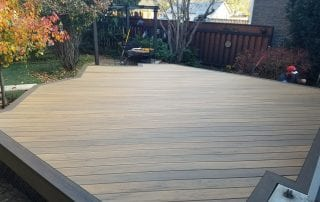 wood deck without railing