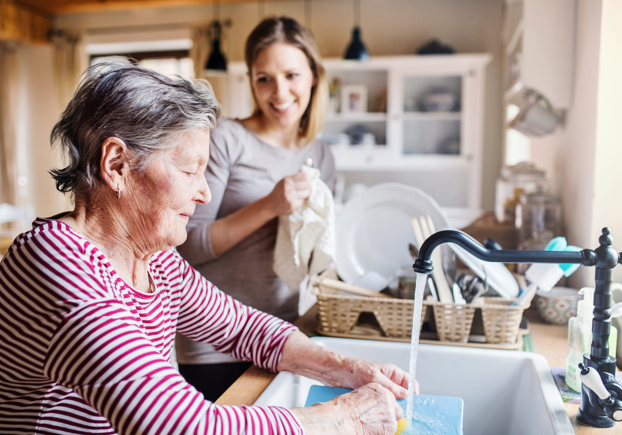 grandma washing dishes